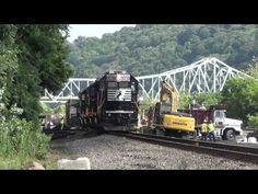 NS 3036 talks to crews on the ground @ derailment site  7/3/14 00044