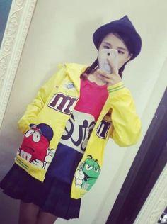 原宿系zipperM&Mチョコ'豆刺繍お洒落なジャケット