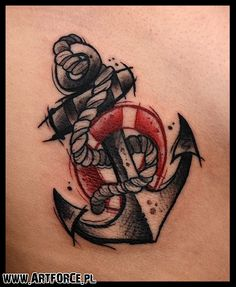Anchor tattoo. Love how it's vintage and modern at the same time. Perfect
