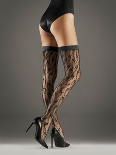 OBSESSION CELIA FIORE LACE TOP HOLD UPS STAY UPS BACK SEAM SEAMED STOCKINGS
