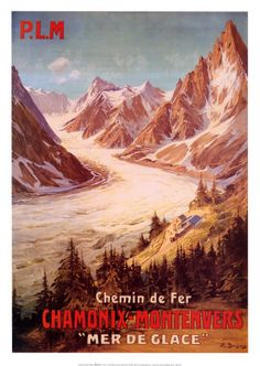 Since 1909 the Chemin de fer du Montenvers has been a rack railway line climbing from the resort town of Chamonix, in the Haute-Savoie regi. Ski Vintage, Vintage Ski Posters, Cool Posters, Retro Posters, Vintage National Park Posters, Site Photo, Chamonix, Railway Posters, Cards