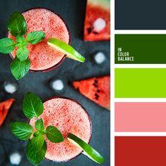 алый, арбузный и зеленый, бордовый, зеленый и красный, красный и зеленый, красный и оранжевый, насыщенный зеленый, насыщенный красный, оранжевый и зеленый, оранжевый и красный, оттенки салатового, подбор цвета, салатовый, салатовый