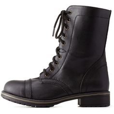 Charlotte Russe Black Lace-Up Combat Boots by Charlotte Russe at... (1.225 UYU) ❤ liked on Polyvore