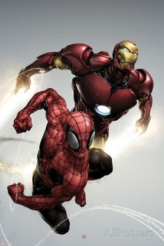 Carnage No.1 Cover: Spider-Man and Iron Man Flying Poster