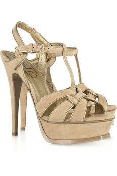 Yves Saint Laurent Tribute suede sandals - love the beige!