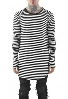 Long Sleeve Base Layer Tee / B&W Stripe