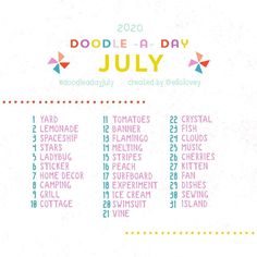"""Rhianna Wurman Illustration on Instagram: """"✏️ Hey friends, the Doodle-a-Day July list is here! I know so many of you are looking for ways to stay creative and I'm happy to provide…"""""""