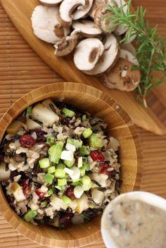 Wild Rice Stuffing with Pears, Cranberries and Creamy Rosemary Mushroom Sauce | 5DollarDinners.com