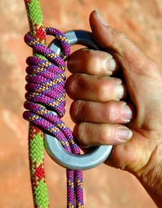 The Bachmann knot uses a carabiner as a handle to push the knot up a fixed rope.