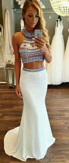 White Prom Gown,2 Pieces Prom Gowns,Elegant Evening Dress,Modest Evening Gowns,2 Piece Party Gowns from Upromdress