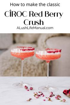 Make this pretty cocktail for Valentine's Day and any other day you want to feel in the pink. Cîroc Red Berry Vodka is the perfect choice for romance. Best Vodka Cocktails, The Best Vodka, Cocktails For Parties, Easy Cocktails, Classic Cocktails, Holiday Cocktails, Drinks, Cocktail Recipes For A Crowd, Cocktail Party Food
