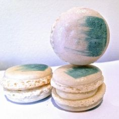 French Vanilla Macarons with Blue Paint Stroke