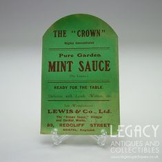 This is a highly unusual example of an unused paper label from The Crown Sauce, Vinegar and Cordial Works and dating to the first half of the century. The label is rectangular with a curved top. It is made from thin green paper, which is b Mint Sauce, Green Paper, The Crown, Label, Jar, Antiques, Garden, Vintage, Antiquities