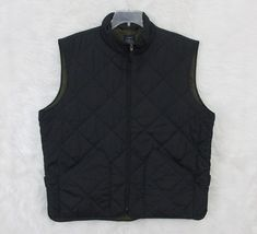 Mens J CREW Black Quilted Green Twill Lining Full Zip Walker Jacket Vest Size XL #JCREW #Vest