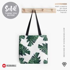 Banana Leaf Watercolor Pattern Tote Bag  Sold! #redbubble #fashion #totebag