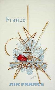 Air France Vintage Travel Poster 1968 airlines, airplane, classic, France, high resolution, old, poster, retro, transportation, travel, vintage #VintageTravelPosters