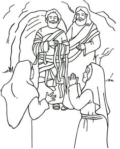 Lazarus Coloring Page Sunday School Activities, Sunday School Crafts, Sunday School Lessons, Jesus Coloring Pages, Colouring Pages, Coloring Books, Coloring Sheets, Preschool Bible, Bible Activities