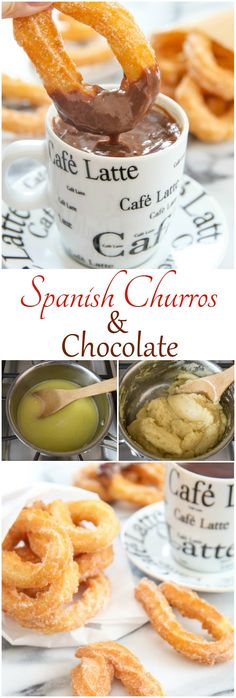 Spanish Churros with Chocolate (Churros con chocolate). Easier to make than you may think. The dough is just 5 ingredients!