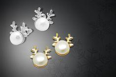 Silver or Gold Pearl Reindeer Earrings