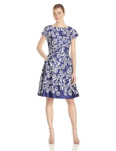 Printed Boat Neck Sateen Fit and Flare Dress by Anne Klein
