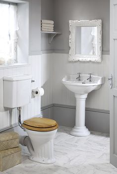 Silverdale Bathrooms' Belgravia cloakroom suite with the low level fluted pan and cistern.