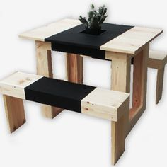 wood picnic table for 2 with inset planter | Shelter Black