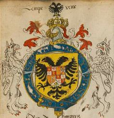 Coat of arms of Charles V, Holy Roman Emperor as Knight of the Garter. Insignia Anglica, England, 1550.