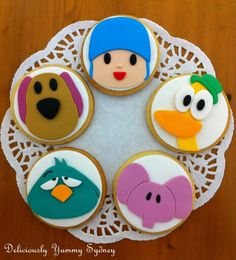 Pocoyo Cookies 2nd Birthday Party Themes, 1st Boy Birthday, First Birthday Parties, Birthday Decorations, First Birthdays, Zombie Party, Cupcake, Childrens Party, Cookie Decorating