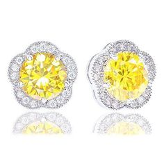 18k Gold Plated Cubic Zirconia Flower Halo Stud Earrings 230 carats * Click on the image for additional details. (This is an affiliate link and I receive a commission for the sales)