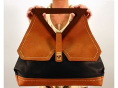 Modern Black Handbag with Wooden Handles