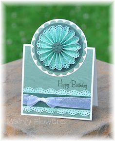 """The medallion is made by fan folding a 12"""" strip of paper after punching the edge with an edging punch - Martha Stewart - Doily Lace *or sub an image for the medallion*"""