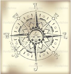 vintage compass rose tattoo   double matted with compass directional vintage mariners compass map ...