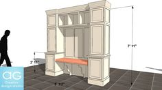 Large preview of 3D Model of Mudroom Cabinet Concept_#1