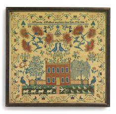 Needlework Sampler, Martha Mulford (1796-1868), New Carlisle, Clark County, Ohio, Dated 1824