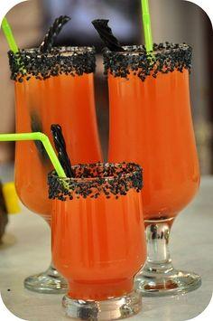 Orange drink w/ black sugar garnish-could double as away game OSU drink!