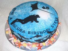 Scuba Diver Cake - Chocolate fudge fondant covered cake with all edible handmade fondant cutouts.