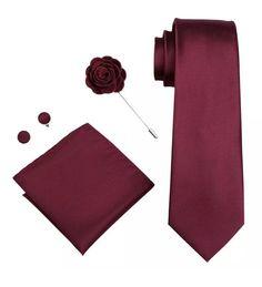 Men's Coordinated Silk Tie Set - Solid Burgundy – Uylee's Boutique