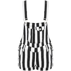 Monochrome Striped Denim Dungaree Playsuit ($31) ❤ liked on Polyvore featuring jumpsuits, rompers, shorts, dresses, bottoms, playsuit romper, black and white striped romper, stripe romper, denim rompers and denim romper