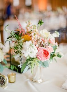 Wedding Centerpiece - Romantic Pink & White -- See the wedding on SMP: http://www.StyleMePretty.com/2014/06/03/timeless-austin-wedding-at-chateau-bellevue/  Photography: TaylorLord.com -- Floral Design: PetalPushers.us