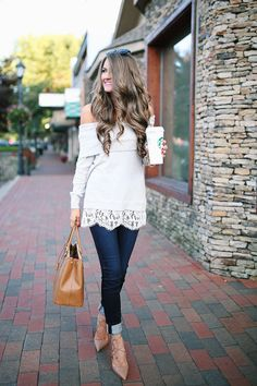 off-the-shoulder sweater with lace hem // skinny jeans , similar HERE Aquazzura lace-up heels , similar HERE & HERE /...