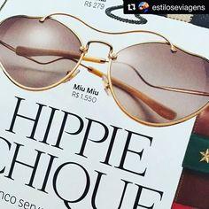 #Repost @estiloseviagens ・・・ ,,,,, #hippiechique o novo óculos da @miumiu mal chegou as lojas e já virou febre ,,,, e eu como leitora da @voguebrasil e consumidora assídua das @oticaswanny  não posso deixar de falar que este óculos já está disponível em todas as lojas. #moda #sunglasses #tendencias #beleza #vogue #oticaswanny #estiloseviagens