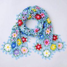 crochet flower motif scarf