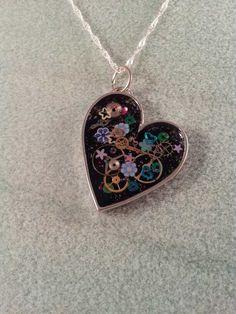 Resin heart in silver bezel SOLD PamMcGJewelry https://www.facebook.com/FromTheHeartCustomJewelry