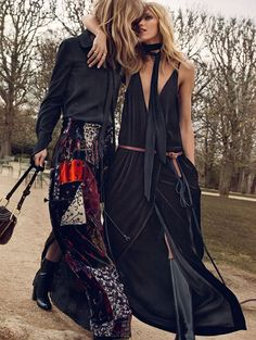Anja Rubik and Julia Stegner are the modern spirit of Chloé  girls for Fall ad campaign 2015 shot by Inez & Vinoodh