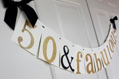 50th Birthday Decoration - ships in 1-3 business days - 50 & Fabulous Banner.