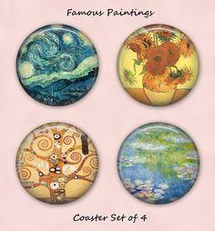 Famous Paintings Coasters, Coaster Set,  4 Coasters - C015