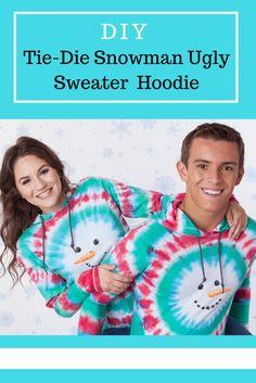 DIY Tie-Dye Snowman Ugly Sweater Hoodie   iLoveToCreate