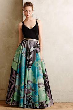 Black taffeta skirt in maxi length for wedding formal or evening ...