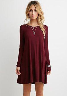 Wine Red Plain Long Sleeve Casual Mini Dress