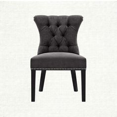 Alexis Tufted Upholstered Dining Side Chair In Elizabeth Charcoal And Black | Arhaus Furniture